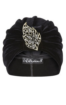 Black velvet turban with jewel leaf detail by The Future Heirlooms Boutique Product photo