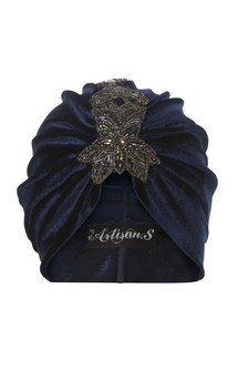 Navy turban with coordinating star shaped bead appliqué by The Future Heirlooms Boutique Product photo