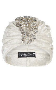 Cream iridescent velvet turban with plume appliqué detail by The Future Heirlooms Boutique Product photo