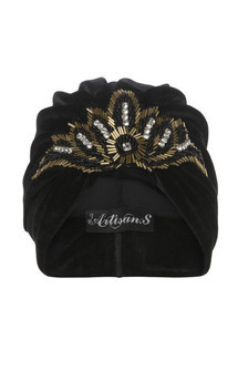 Black velvet turban with bead and diamante appliqué  by The Future Heirlooms Boutique Product photo
