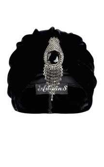 Black velvet turban with bold silver hanging detail by The Future Heirlooms Boutique Product photo