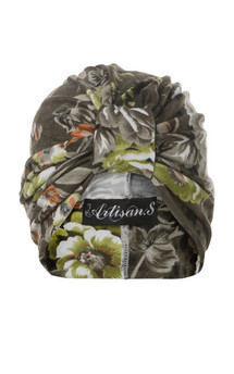Jersey turban in khaki and neon floral print by The Future Heirlooms Boutique Product photo