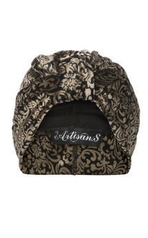 Gold and black brocade patterned velvet turban by The Future Heirlooms Boutique Product photo