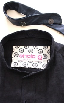 Men's navy linen shirt by Etrala London Product photo