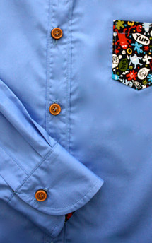 Men's blue monster shirt by Etrala London Product photo