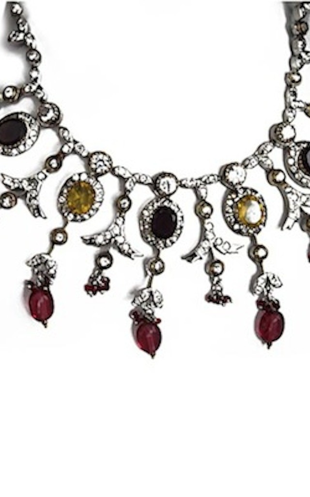 Seductress Statement Necklace with Multicolour Gemstones by Taara Jewelry