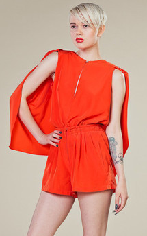Burnt orange cape shirt by LAZY TWINS Product photo