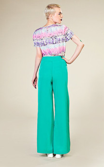 Turquoise side detail trousers by LAZY TWINS Product photo