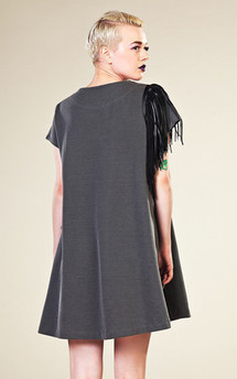 Grey trapeze dress by LAZY TWINS Product photo