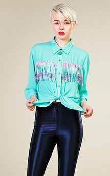 Light turqouise fringe shirt by LAZY TWINS Product photo