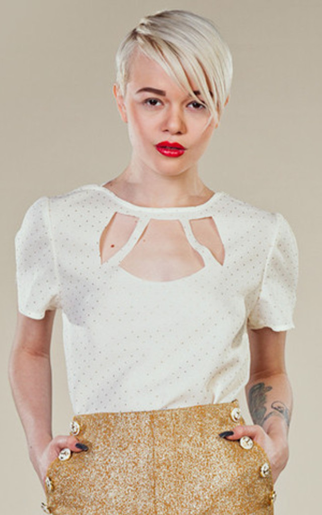 White & Gold detail Cut Out Top by LAZY TWINS