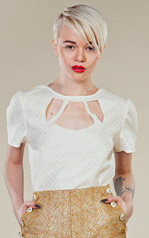 White & gold detail cut out top  by LAZY TWINS Product photo