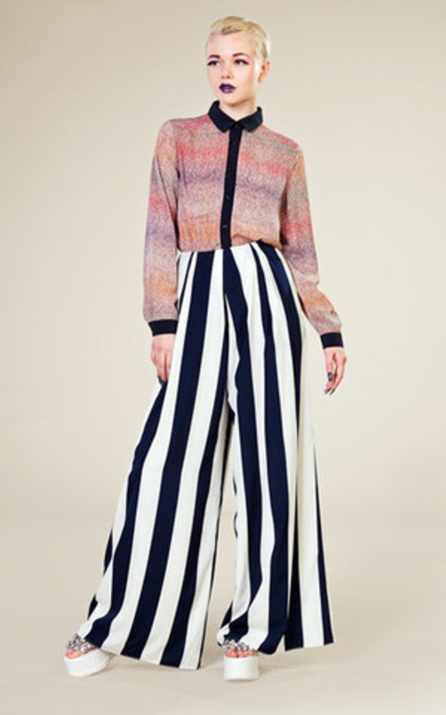 Stripes Floor-Sweeping Trousers by LAZY TWINS