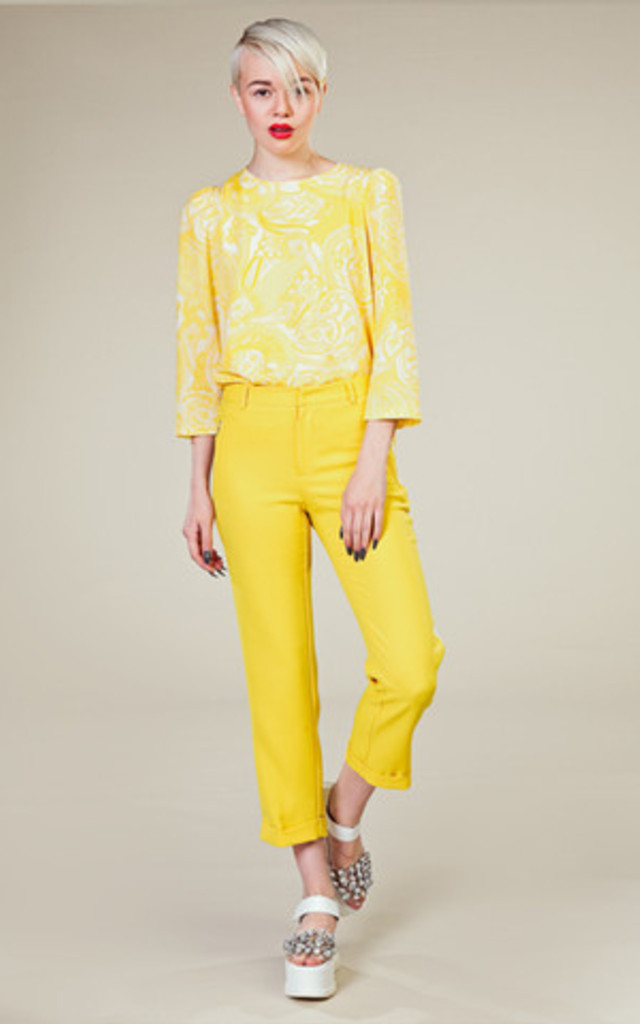 Yellow Trousers with Side Line by LAZY TWINS