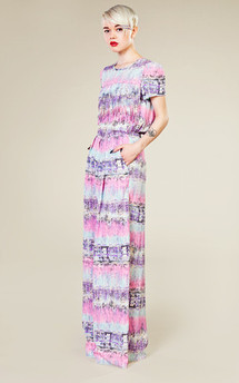 Patterned floor-sweeping trousers  by LAZY TWINS Product photo