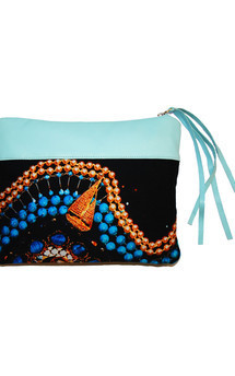 Sabine clutch with eggshell blue leather and golden voyage print by Carmen Woods Product photo