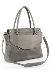 Louie satchel- gray leather by Shana Luther Handbags Product photo