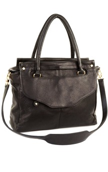 Louie satchel- black leather by Shana Luther Handbags Product photo