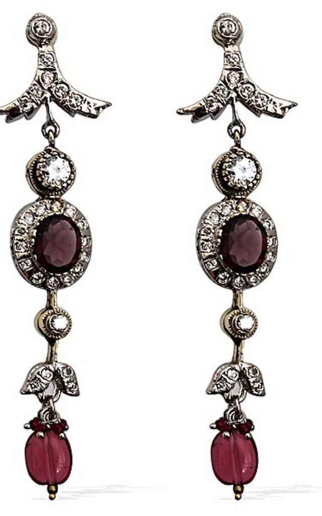 Seductress Statement Earrings with Red Gemstones by Taara Jewelry