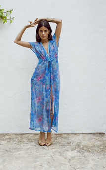 Beach cape in blue floral by Dancing Leopard Product photo