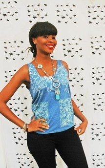 Hand printed blue floral tank by SLC-SLC Product photo