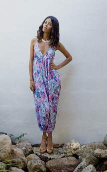Genie jumpsuit in baby blue floral by Dancing Leopard Product photo