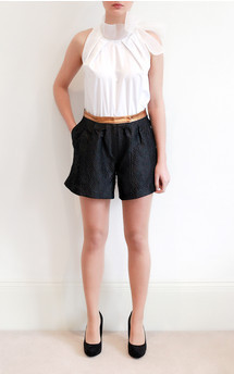 Silk & leather shorts by Etrala London Product photo