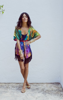 Peacock tassle kimono in green, yellow and purple  by Dancing Leopard Product photo