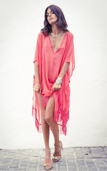 Tassle kaftan in soft red by Dancing Leopard Product photo