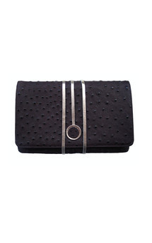 Hyde park in chocolate ostrich leather by Torula Bags Product photo