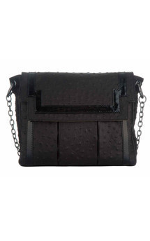 Chinatown in black ostrich leather by Torula Bags Product photo