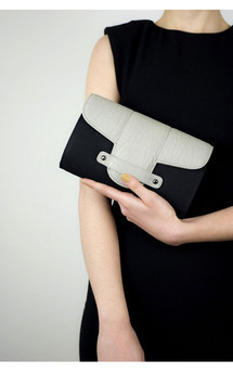 Bond street in black canvas and light grey leather by Torula Bags Product photo