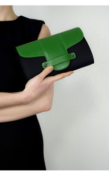 Bond street in black canvas and green leather by Torula Bags Product photo