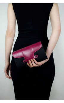 Bond street in black canvas and cherry red by Torula Bags Product photo
