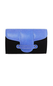Bond street in black canvas and blue leather by Torula Bags Product photo