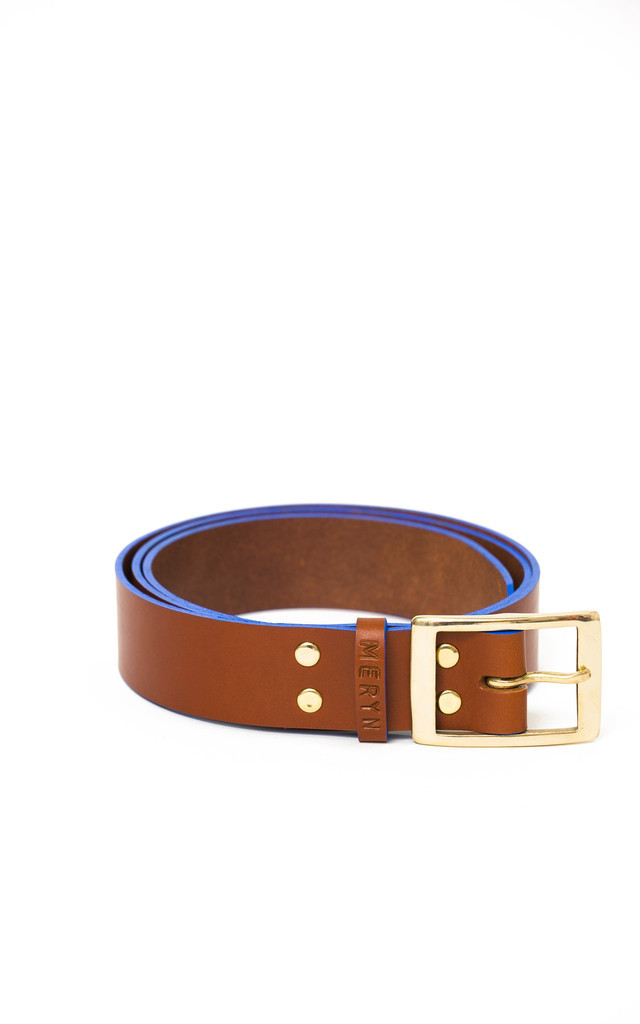 Marlow Belt Tan/Azure by Meryn