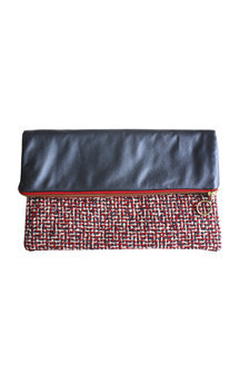 Leather & tweed clutch by Etrala London Product photo