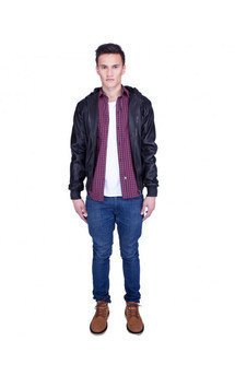 Viparo black hooded bomber  lambskin leather jacket - callum by VIPARO Product photo
