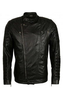 Viparo black moto quilted nz lambskin leather biker jacket - christoph schaller signature by VIPARO Product photo