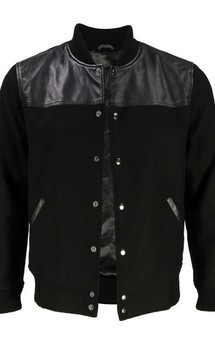 Viparo black top leather varsity jacket - corbin by VIPARO Product photo
