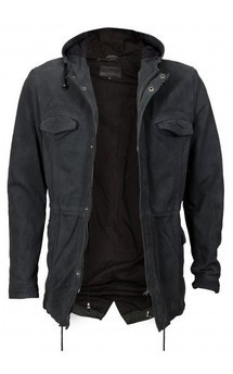 Viparo anthracite suede leather lightweight zip hooded anorak jacket - dominic by VIPARO Product photo