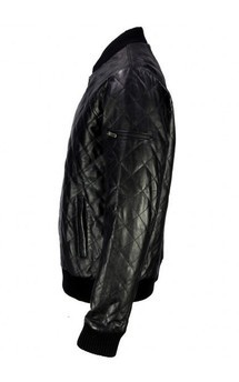 Viparo black lambskin leather quilted varsity jacket - fortune and freedom  by VIPARO Product photo