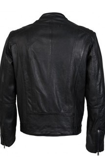 Viparo black slim fit nz lambskin leather biker jacket - jamie by VIPARO Product photo