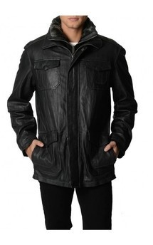 Viparo black leather mid length coat jacket - jensen by VIPARO Product photo