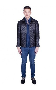 Viparo black moto quilted lambskin leather biker jacket - maverick by VIPARO Product photo