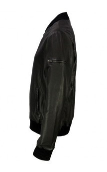 Viparo black full lambskin leather varsity jacket - testino  by VIPARO Product photo