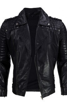 Viparo black moto quilted leather biker jacket - ventura by VIPARO Product photo