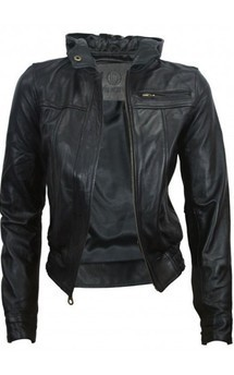 Viparo black urban hooded bomber leather jacket - autumn by VIPARO Product photo
