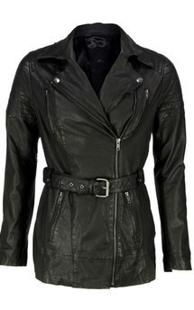 Viparo black leather quilted biker coat - casablanca by VIPARO Product photo