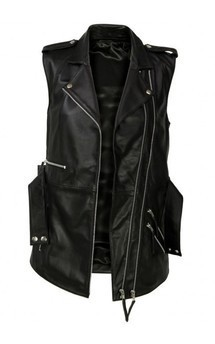 Viparo black lambskin leather long biker vest - jamari by VIPARO Product photo
